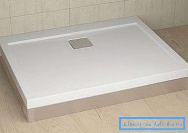Плоский прямоугольный душевой поддон 110х90 см
