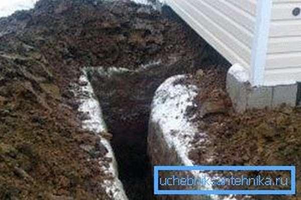 Подвод труб водоснабжения к дому