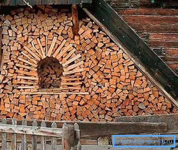 Поленница с дровами