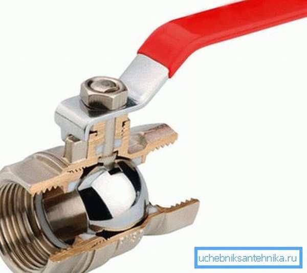 Полнопроходной водопроводный кран в разрезе.