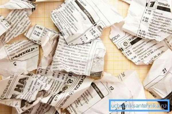 Попытка использовать газету почти гарантированно приведет к проблемам со сливом