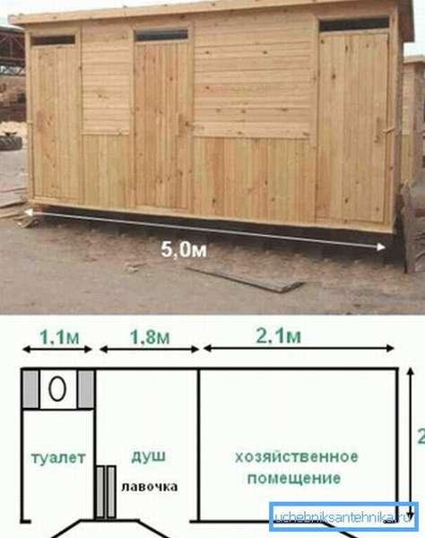 Представлен небольшой душевой домик с туалетом + хозблоком и душем.