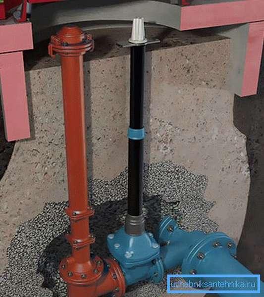 При небольших объемах подачи воды гидрант может располагаться прямо в грунте