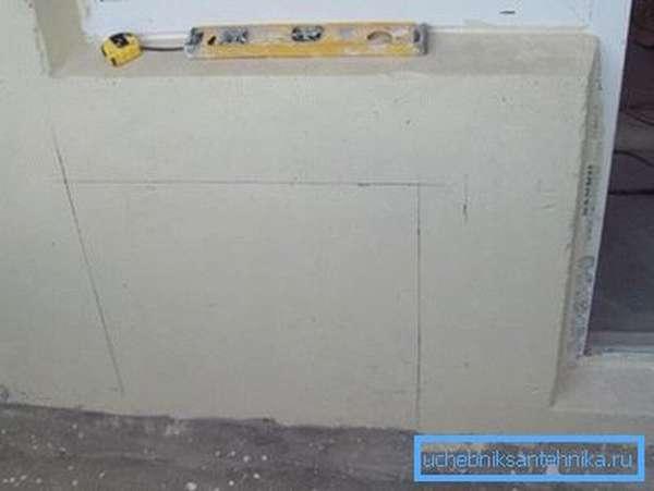 Пример разметки стены под батарею