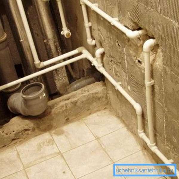 Пример разводки водопровода в ванной