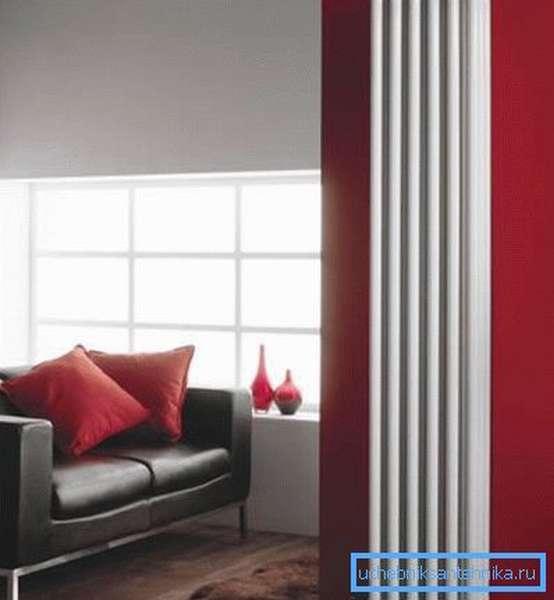 Пример современного дизайна с использованием узкого радиатора.