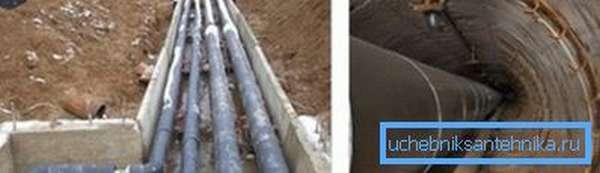 Пример того, как выполняется совместная прокладка тепловых сетей и водопровода