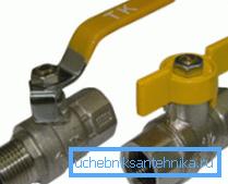 Примеры шаровых газовых кранов с разными рукоятками и резьбовыми соединениями