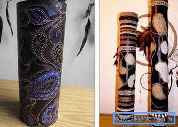 Примеры ваз из картонных труб