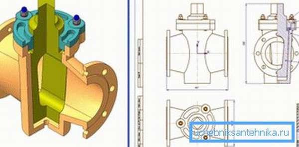 Пробковый кран: разрез и чертеж.