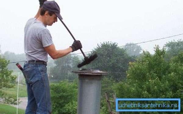 Прочистка дымохода механическим способом