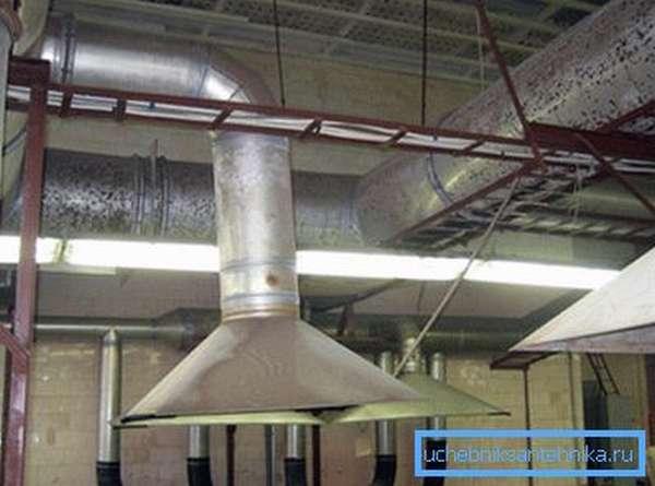 Производственные помещения вентилируются только принудительно.