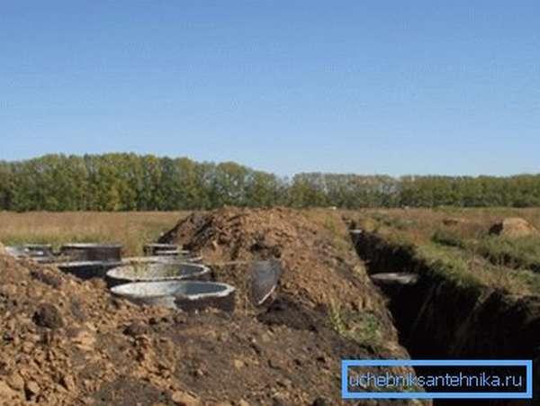 Прокладка магистрали холодного водоснабжения на незастроенных территориях.