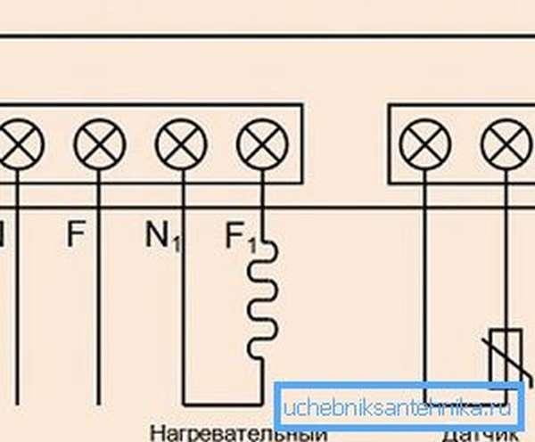 Простейшая схема подключение нагревательного прибора.