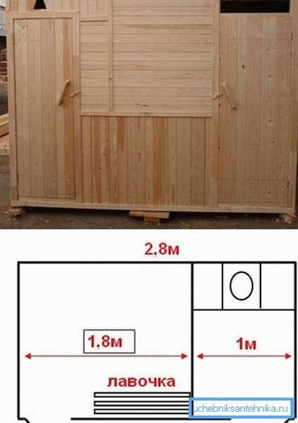 Простейший чертеж дачного туалета с душем и окончательный вид строения