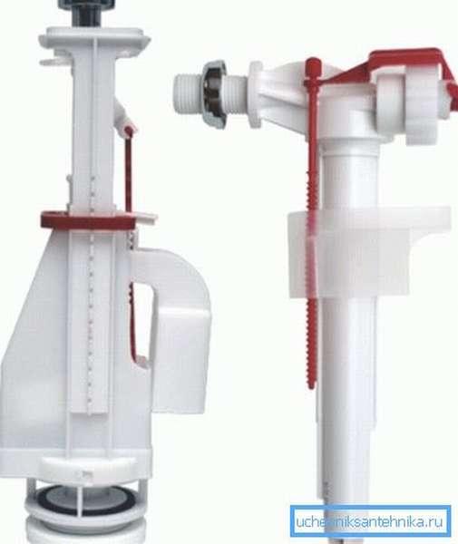 Простейший комплект, состоящий из кнопочного сливного механизма и поплавкового запорного клапана.