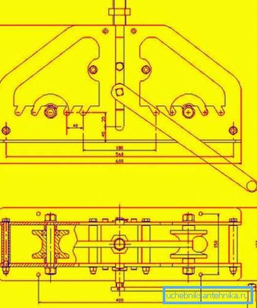 Простой чертеж вальцов для профильной трубы, который можно применить для самостоятельного изготовления