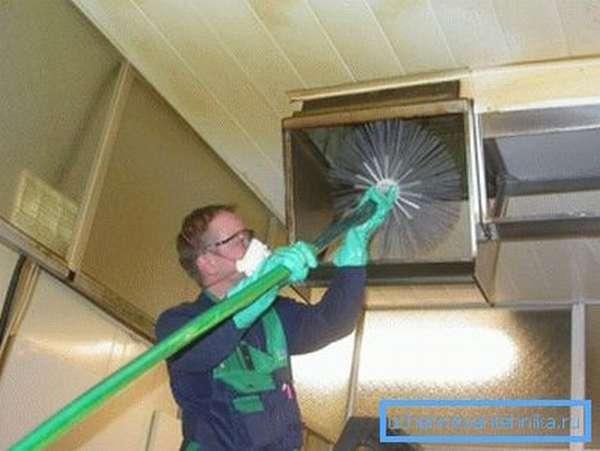 Процесс подачи механического ершика с дополнительной функцией работы с помощью напора горячей воды или пара
