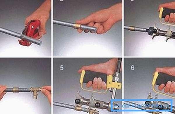 Процесс сопряжения труб при помощи обжимных фитингов.