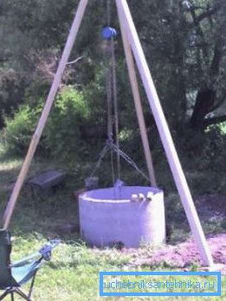 Процесс установки бетонного кольца.