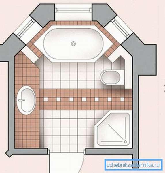 Пятиугольная кабина идеально вписывается в обстановку ванной комнаты
