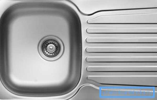 Раковина с подставкой для посуды из нержавейки 460х760 мм
