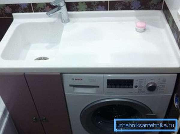 Раковины над стиральной машиной со столешницей, изготовленные как один элемент, должны предусматривать бордюр вдоль стены для защиты от влаги и отверстие под установку смесителя