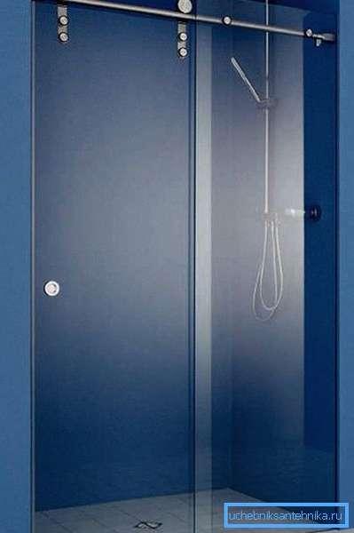 Раздвижная стеклянная дверь для душа 80 на 200 мм с верхним подвесом