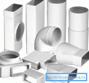 Различное сечение вентиляционного канала из пластика