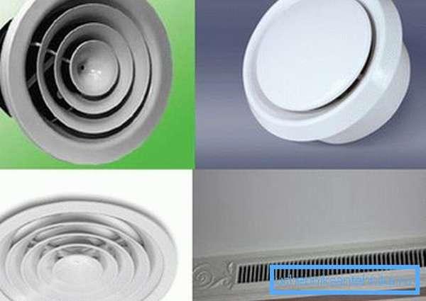 Различные варианты диффузоров для вентиляции