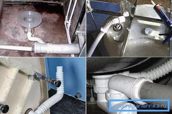 Различные варианты подключения слива к домашней канализации.