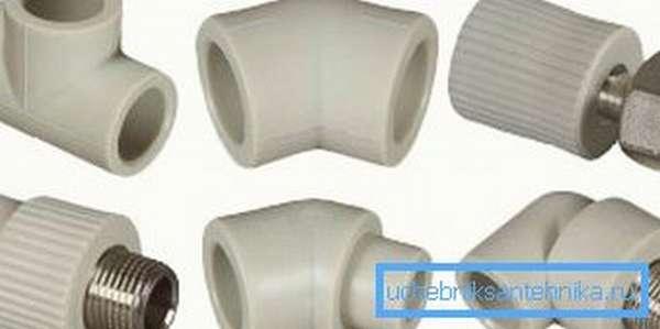Различные виды фитингов для полипропиленовых труб