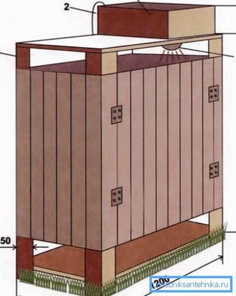 Размеры деревянной кабинки.