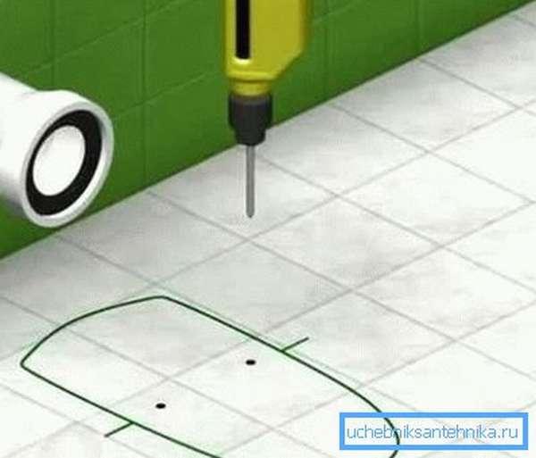 Разметка контуров основания и монтажных отверстий.