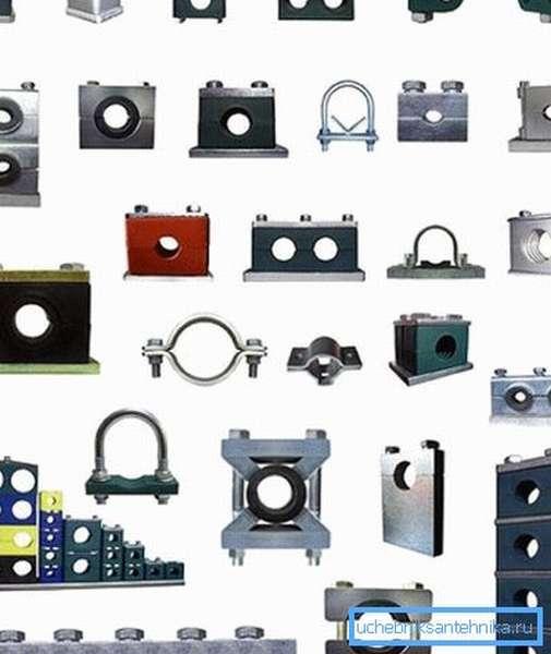 Разновидности хомутов, которые можно использовать при монтаже различных систем на основе труб
