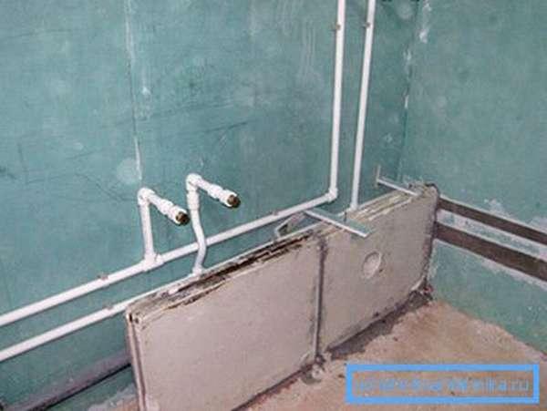 Разводка полипропиленовых труб в ванной под гипсокартон