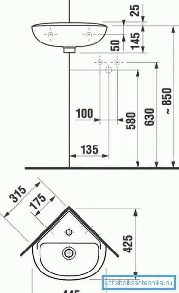 Рекомендуемые размеры для монтажа угловых моделей.