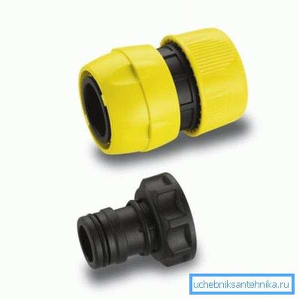 С помощью подобной конструкции пластиковые шланги для водопровода подключаются в один щелчок