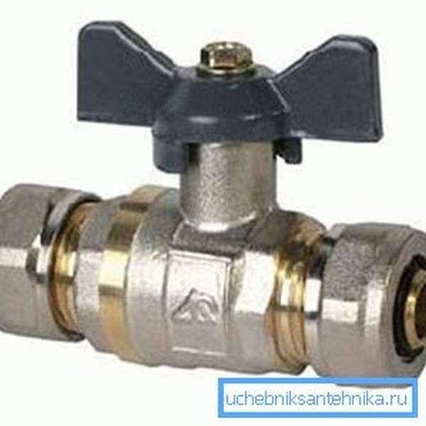 Шаровой вентиль для металлопластиковых труб