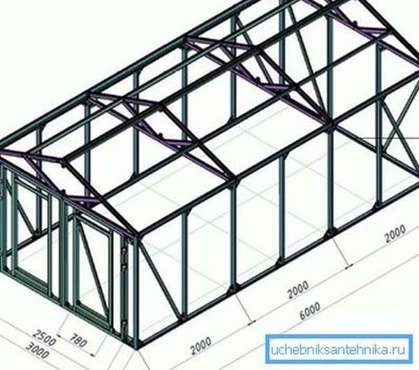 Схема-чертеж гаража из профильной трубы