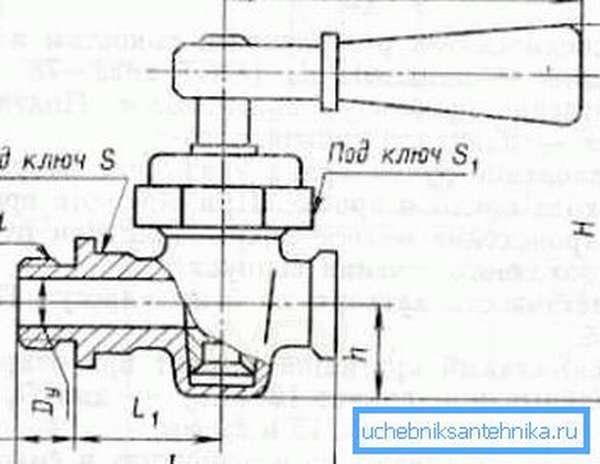 Схема-чертеж цапкового крана 10б9бк1 с прямым спуском
