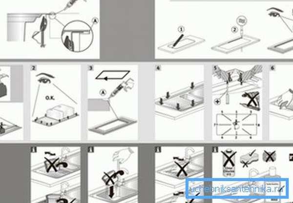 Схема и последовательность монтажа накладной раковины.
