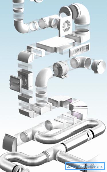 Схема организации единой системы из пластиковых воздуховодов и вспомогательных элементов