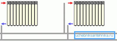 Схема параллельного подключения батарей