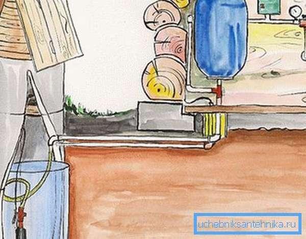 Схема подачи воды с гидроаккумулятором