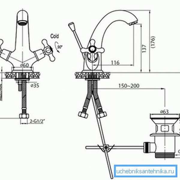 Схема рычагов (спиц), связывающих донный клапан и смеситель