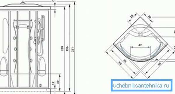 Схема с обозначением размеров различных элементов душевой кабины