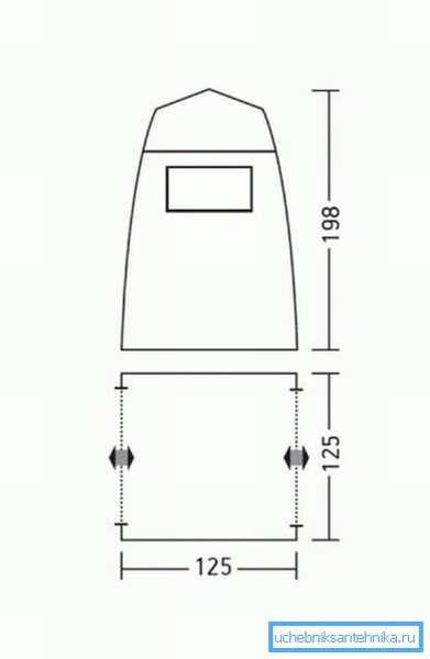 Схема с указанием линейных размеров