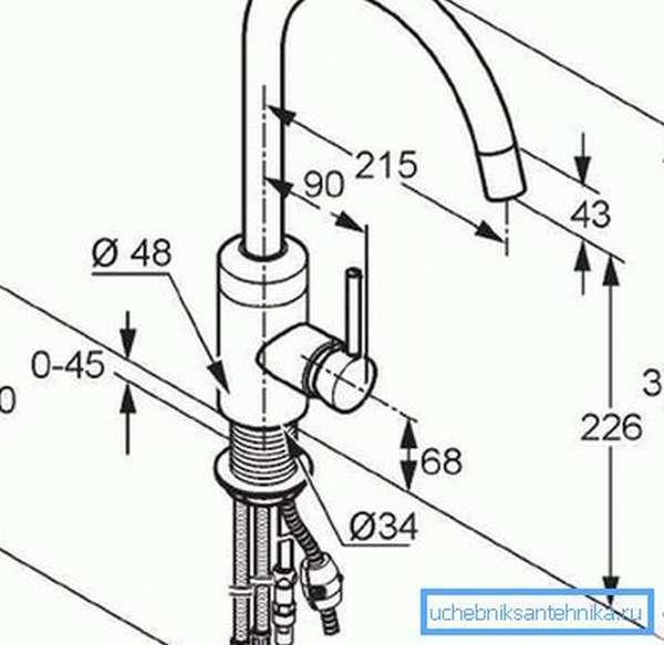 Схема смесителя с указанием основных типоразмеров