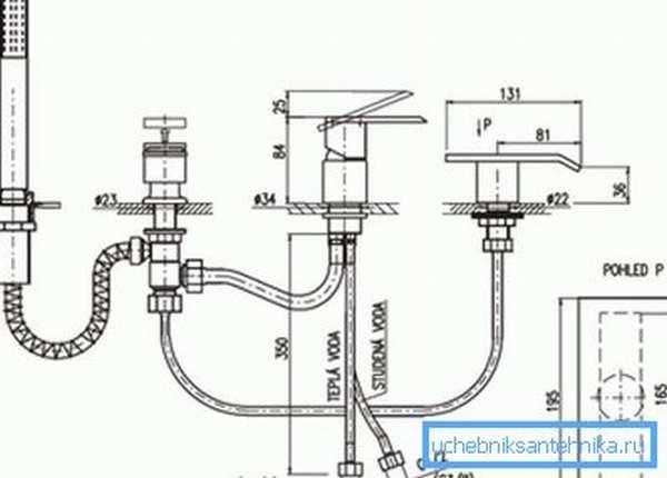 Схема соединения подводящих шлангов.